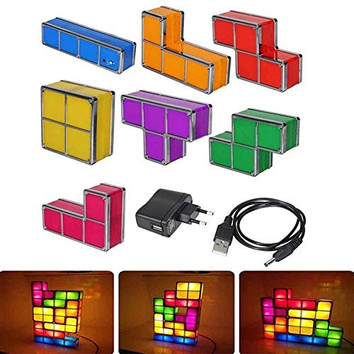 CHHQ Tetris Lichter, 7 Stücke DIY Stapelbare Puzzles LED Induktionssperren Nachtlicht, 3D Spielzeug Schreibtischlampe, Kinder Lichter