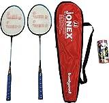 #4: Jonex PLAY BUNIYAD BADMINTON RACKET SET ( 2 RACKETS AND 3 SHUTTLECOCKS) Badminton Kit