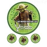 Tortenaufleger aus Zuckerpapier - Tortenbild Geburtstag Tortenplatte Zuckerbild Motiv: Star Wars Yoda