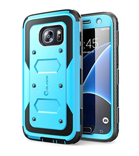 I-blason galaxy s7 custodia, [armorbox] built in [screen protector] [full body] [heavy duty protection] shock reduction/bumper case per samsung galaxy s7 2016 release, blue, blu