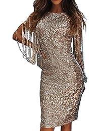 8480115e8bcf Freestyle Primavera e Autunno Sexy Vestito a Tubino Donna Rotondo Collo  Manica Lunga Abito da Partito Festa Sera…