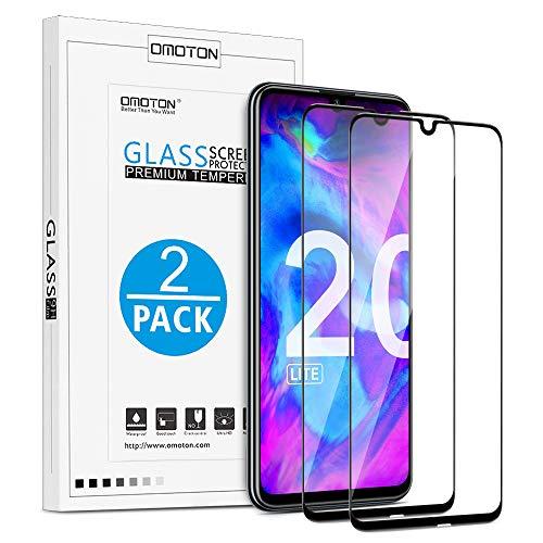 OMOTON [2 Pack Protection D'écran Honor 20 Lite, Film Protection en Verre Trempé [Couverture Complète] [Dureté 9H] pour Honor 20 Lite, Noir
