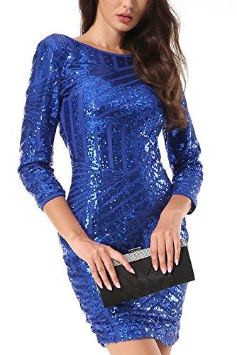 Yidarton Damen Paillettenkleid Langarm Rundhals Backless Partykleid Ballkleid Abend Minikleid (Blau, X-Large) - 5
