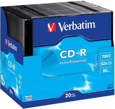 Verbatim CD-R Extra Protection CD-R 700MB 20pc (S)–Blank CDs (CD-R, 700MB, 20PC (S), 52x, 120mm, 80Min)