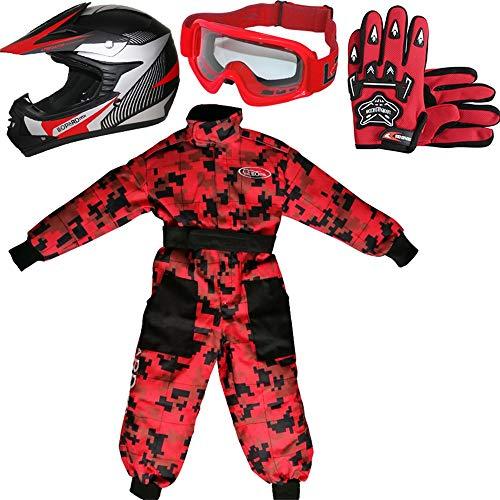 Leopard LEO-X19 Casco da Motocross per Bambini off-Road + Occhiali + Guanti + Tuta da Motocross per Bambini, Completo da Uomo XL (11-12 Anni), Rosso - Casco&Guanti S