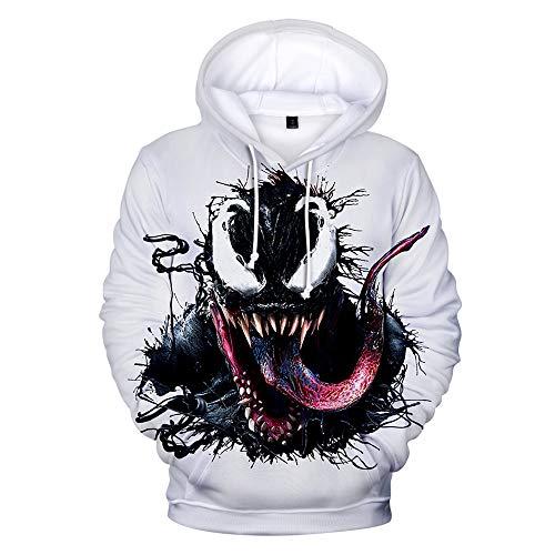 Dwygx Klassische 3D-Druck-Spiel Anime Walk Casual Fashion Party Cosplay Baumwolle Produkte Alltagskleidung Unisex Hoodie Sweatshirt Venom XL (Venom Kostüm Party Stadt)