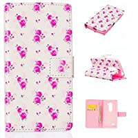 KSHOP Case Cover for LG Leon H340N H345 C40 C50 Cover PU Leather Card Slots Case with Stand Function Shell Protective Cover Book-style Cell Phone Cover Cover Pouch Scratch Resistant Magnetic Closes Print Pattern Pink Roses + Pencil Touch Red