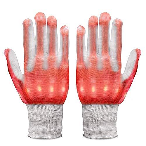 Neusky LED Leucht Handschuhe, Blink Party Leuchthandschuhe für Halloween, Karneval oder Mottoparties (Rot)