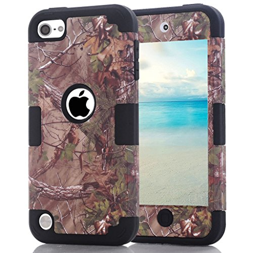 iPod Touch 6. Generation Camouflage Case, hocase Heavy Duty stoßfest Hybrid Silikon Gummi Bumper + Hard Shell Schutzhülle für iPod Touch 5./6. Generation-Camo/Schwarz