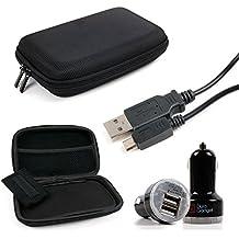 DURAGADGET KIT Estuche / Funda Rígida Para Navegador GPS + Cargador / Adaptador Mechero Coche Doble Con Puerto USB + Cable MicroUSB-USB