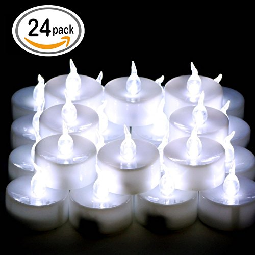 Cookey Lot de 24 Bougies LED à Pile Bougies à LED Fausses Bougies électriques pour Votive Anniversaire Mariage fête Noël