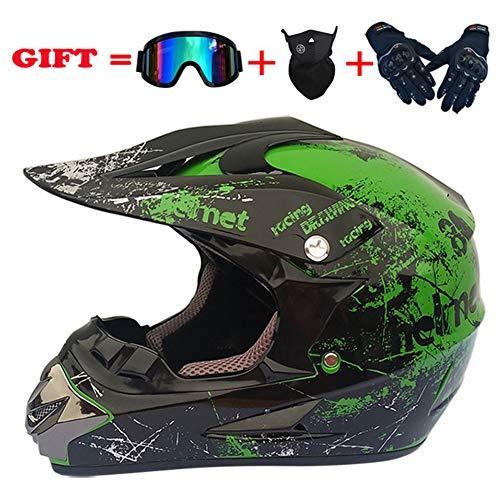 Moto Da Donna Full Face Casco,lightweight Casco Bici 3pc Set Dirt Bike Casco-casco Guanti Occhiali Maschera -k M