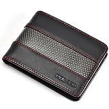 POCARDO Stripe Herren Geldbörse aus Leder & Carbon - Exklusives Portemonnaie für Männer - Schwarz (rote Naht, mit Münzfach)
