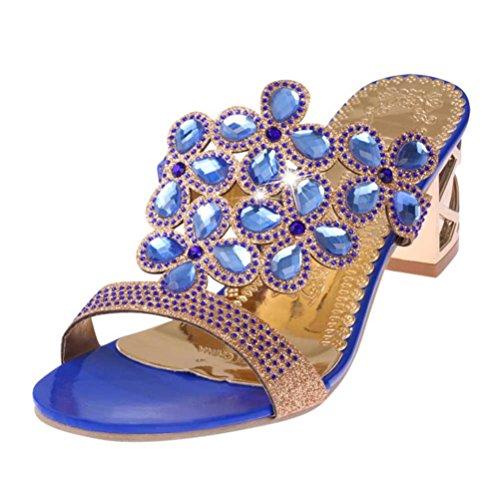 Beautyjourney sandali donna con zeppa estive elegant scarpe donna estive eleganti scarpe donna tacco medio sandali gioiello donna - donna scarpe tacco alto sandali ragazze (34, blu)