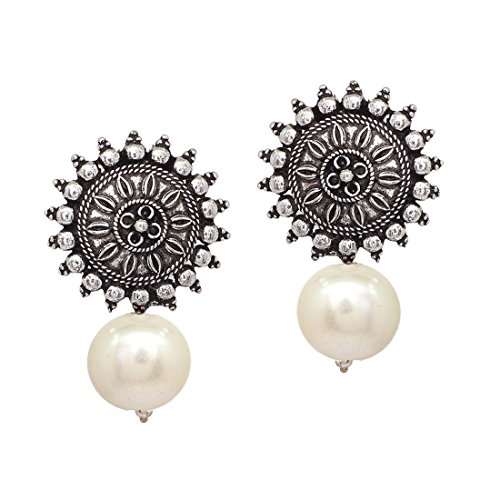 V L IMPEX Sun Shape With Pearl Color Beads Silver Plated Oxidized Stud Drop earring