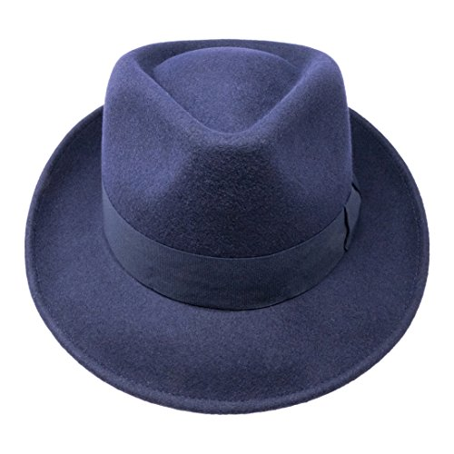 8868c711b B&S Premium Doyle - Teardrop Fedora Hat - 100% Wool Felt - Crushable ...