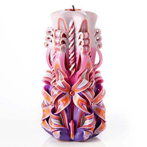 Große handgeschnitzte duftlose Kerze - Perfekte Heimdekoration oder Geschenk-Kerze für viele Gelegenheiten - Atemberaubende cremefarbene violette Farbe mit Perldekoren