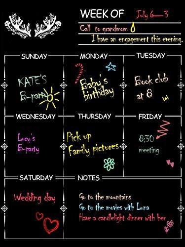 nablue Kühlschrank Magnet Kalender Board Weekly Meal Planner, Dry Erase Kalender magnetisch Tafel Design Familie Kalender organiser- 30x 40cm Weekly Menu Planer mit Lebensmittels Liste und Notizen