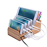 Lottogo USB Ladestation mit 6-Ports Ladegerät Station Organisation 40W Intelligente IC Lade schnellestation Aufladen für iPhone 7,6,6s,5,5sPlus iPad Tablet multi desktop ladestation.(Bambus)
