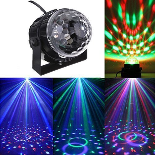Led RGB Party Projektor Licht DJ Disco Club Magic Ball Stagelampe Strahler Ton Steuerung Licht Effekt Kugel Bühnenbeleuchtung (Bühnenlicht USB-Autoladegerät)