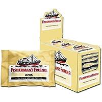 Fisherman's Friend Anis   Karton mit 24 Beuteln   Menthol und Anis Geschmack   Mit Zucker   Für frischen Atem
