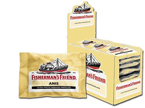 Fishermans Friend Pastillen (Fisherman's Friend Anis | Karton mit 24 Beuteln | Menthol und Anis Geschmack | Mit Zucker | Für frischen Atem)