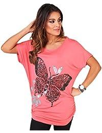 KRISP® T-Shirt Imprimé Papillon Manche Chauve- Souris Paillette Métallique