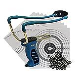 BIG Blue QUICK SHOT Schleuder mit Kugelmagazin + 120 Stahlkugeln 8mm + Ersatzgummi + 10 ShoXx.® shoot-club Zielscheiben