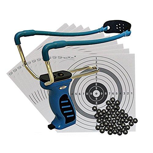 BIG Blue QUICK SHOT Schleuder mit Kugelmagazin + 120 Stahlkugeln 8mm + Ersatzgummi + 10 ShoXx.® shoot-club Zielscheiben Image