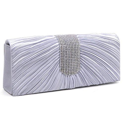 LOSORN ZPY Damen Topmodische Partytasche Abendtasche Handtasche mit Strass Hochzeit Party Clutch viele Farbe Silber