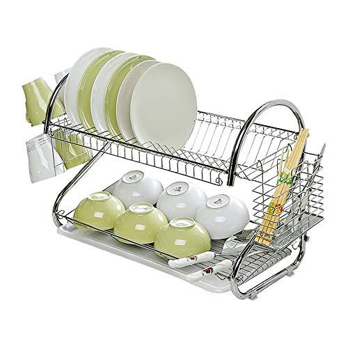 QNJM 2-Tier Kitchen Sink Side Dish Wäscheständer, Abnehmbare Geschirrablage Cup Holder Für Küchenspüle, 67 × 25,5 × 40 cm -