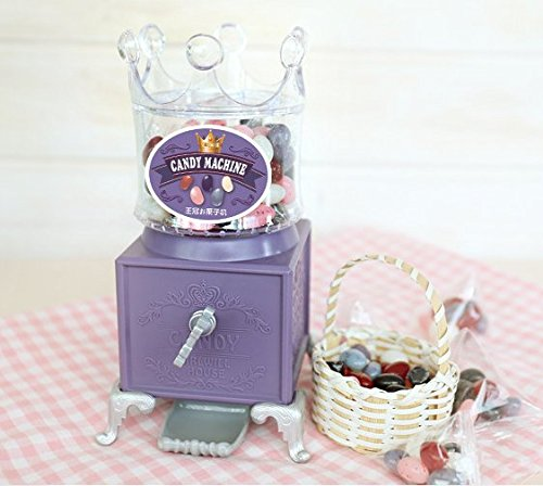 Lovely Candy Spender Gumball Maschine mit Süße Crown Top für kleine Mädchen, hält Snack Candy Muttern und Gumballs, Home Kinderzimmer Schreibtisch Decor, plastik, Blue, B, 9.8x8.8x17.5cm' (Purple, - Maschinen Gumball
