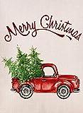 Furiaz Deko-Fahne für den Garten, Weihnachtsflagge mit rotem LKW, Weihnachtsbaum, rustikale Jute, Hof Flagge, Vintage, Winter, Außendekoration, Weihnachtsdekoration, 12 x 18 cm
