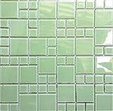 Glas Mosaik Fliesen Matte Steine in Zwei Größen helles Grün (MT0024) Modernes Hellgrün