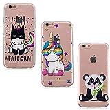 [3 Stück] Handyhülle für iPhone 6S Plus, Edaroo Karikatur Einhorn Panda Comic Muster TPU Silikonhülle Schutzhülle Transparent Stoßdämpfend Bumper TPUSilikon Cover für iPhone 6S Plus/iPhone 6 Plus
