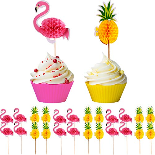 meekoo 100 Stücke Flamingo Ananas Cupcakes Topper Kuchen Picks Party Vorräte für Sommer Hawaiian Luau Geburtstag Hochzeit Strand Dekoration