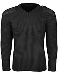c325abe1e1104 Castle Clothing Mens Army Pullover Security Military Jumper Big Sizes Up To  4XL Knitted Sweater V Neck With Shoulder Epaulettes And…