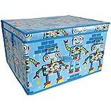 Kids Folding Storage Chest 50cm x 30cm x 40cm Blue Robots