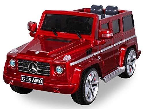 Actionbikes Motors Original Mercedes Benz AMG G55 inklusive High Door - Leder Sitz - Metallic Lackierung Jeep Lizenz Elektro Kinderauto Kinderfahrzeug Spielzeug (rot)
