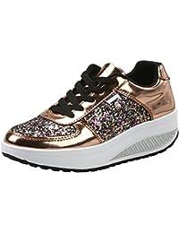 Mujer Zapatillas de Deporte Cuña Zapatos para Caminar Aptitud Plataforma Sneakers con Cordones Calzado de Tacón