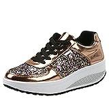 Damen Sneaker Bequeme Plateau Freizeitschuhe Frauen Fitness Sportschuhe Keilabsatz Laufschuhe Leicht Turnschuhe (42 EU, Gold)