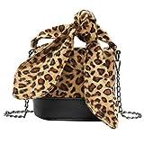 Fymia❤️❤️ Frauen Leopard Plüsch Eimer Tasche Schultertasche Umhängetasche Umhängetasche