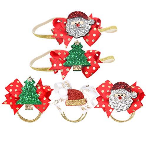 Minkissy 5pcs cravatte per capelli natalizi supporti per coda di cavallo decorativi elastici gitter accessori per capelli per capelli con fascia per capelli per vacanze