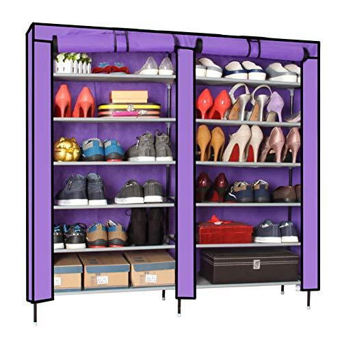 Armoire à chaussures simple double rangée 7 couches grande capacité armoire à chaussures augmenter le rack de chaussures Suréhauter,Purple