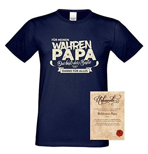 Herren T-Shirt als Vatertagsgeschenk Geburtstagsgeschenk :-: Für meinen wahren Papa :-: Geschenkidee für Ihren Adoptivvater Stiefvater Geburtstag Vatertag Weihnachten Farbe: navy-blau Navy-Blau