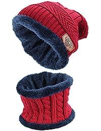 Isuper 2 Pcs Sombrero Caliente de Punto Gorra Bufanda con Forro de Lana Invierno (Rojo)