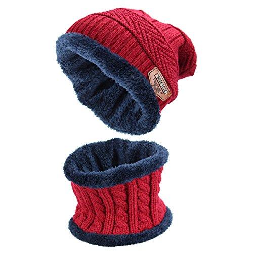 Sombrero de invierno, sombreros para mujeres y hombres ,Gorras Con Bufanda y Gorros de punto Sombreros de Suave Encantador Invierno de lana