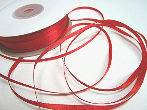 100m 3mm breit Satin Schleifenband Geschenkband Satinband Dekoband Hochzeit Weihnachten (Rot)