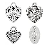 80 Assorted Mixed Tibet Tibetan Silver Antique Heart love Charm Pendant U-TS0617