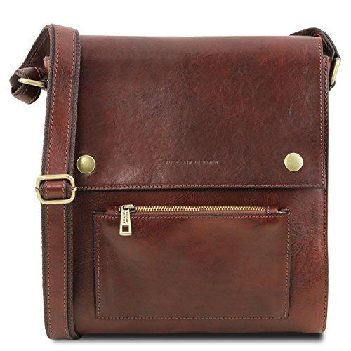 Tuscany Leather Oliver Borsello da uomo in pelle con tasca frontale Miele Marrone